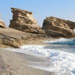 Triopetra pebble beach. Mediterranean sea. Greece — Stock Photo #52277721