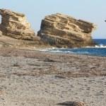 Triopetra pebble beach. Mediterranean sea. Greece — Stock Photo #52277761