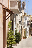 Traditional greek street in Rethymno. Crete. Greece — Stock Photo