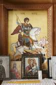 Byzantine iconography inside a cretan church — Stock Photo