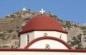 Greek church red dome in Crete. Greece — Foto de Stock