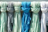 Green and blue ladies scarves in a tourist shop. Crete. Greece — Stock Photo