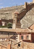 Picturesque town in Spain. Cathedral and defending wall. Albarra — Stockfoto