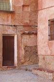Picturesque red gypsum facade in Albarracin. Spain — Stock Photo