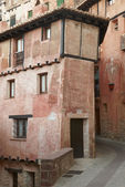 Picturesque house in Albarracin. Red gypsum. Spain — Stock Photo