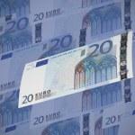 Twenty euro bills collage. Horizontal format — Stock Photo #53369677