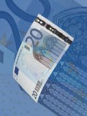 Twenty euro bill collage with blue tone — Stock Photo
