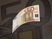 Fifty euro bill collage with warm tone — Stock Photo