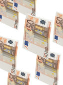 Fifty euro bill collage with isolated on white — Foto de Stock