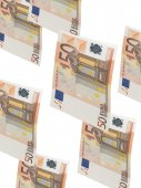 Fifty euro bill collage with isolated on white — Stock Photo