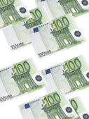 One hundred euro bill collage isolated on white — Stock Photo