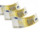 Two hundred euro bill collage isolated on white — Foto de Stock