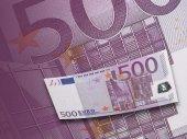 Fünfhundert euro rechnung collage in lila ton — Stockfoto