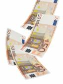Fifty euro bill collage isolated on white — Stock Photo