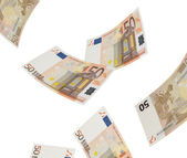 Fifty euro bill collage isolated on white — 图库照片