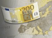Two hundred euro bill collage in warm tone — Stock Photo