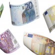 Euro bill collage isolated on white — Stock Photo #55678625