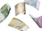 Euro účet koláž izolované na bílém — Stock fotografie