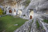Ancient chapel in a cave. Ojos de Guarena. Burgos. Spain — Stockfoto