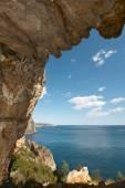 Mediterranean coastline landscape with cave in Alicante. Spain — Stock Photo