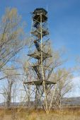 Fire detection watch tower surruonded by deciuous trees in Spain — Stock Photo