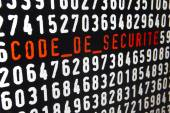 Computer screen with code de securite text and numbers — Stock Photo