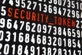 Computer screen with security token text on black background — Stock Photo