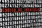 Computer screen with codigo de identidad text on black backgroun — Stock Photo