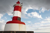 Red and white lighthouse in Povoacao, Sao Miguel, Azores. Portug — Stock Photo