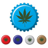 Cannabis plant bottle top — Stock Vector