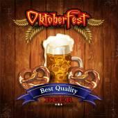 Bavarian beer pretzel with vintage wood — Stock Vector
