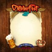 Parchment menu Oktoberfest with vintage wood — Stockvektor