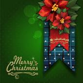 Merry Christmas label with star flowers — Stockvector
