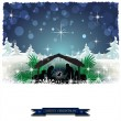 Nativity silhouette with snow-covered hut — Stock Vector #59615629