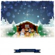 Nativity with snow-covered hut — Stock Vector #59619889