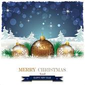 Christmas balls and snowflakes and Trees — Stockvektor