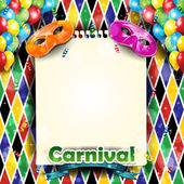 Carnival harlequin with sheet — Stock Vector