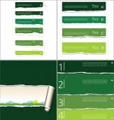 Green torn paper background with space for text, collection — Stock Vector