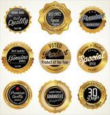 Golden Premium Quality Labels — Stock Vector