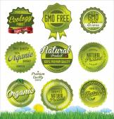 Natural, organic product retro Labels — Stock Vector