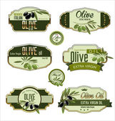 Olive golden labels — Vettoriale Stock