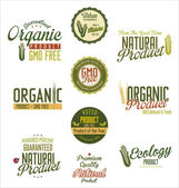 Organic natural product labels — Stock Vector