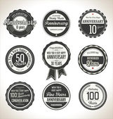 Anniversary retro labels collection — Stock Vector