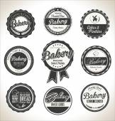 Bakery retro vintage labels collection — Stock Vector
