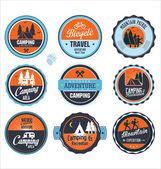 Set of outdoor adventure retro labels — Stock Vector