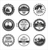 Set of outdoor adventure blue labels — Stock Vector