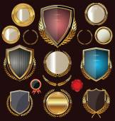 Golden Shields, labels and laurels, collection — 图库矢量图片