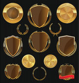 Golden shields, laurels and medals collection — Stockvektor