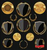 Golden shields, laurels and medals collection — Cтоковый вектор