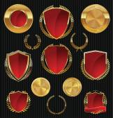 Golden shields, laurels and medals collection — Vecteur